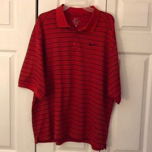 Nike Dri-Fit Red/Black Stripes Golf Polo Shirt XL
